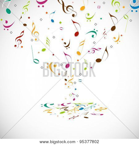 Colorful musical notes on shiny light grey background.