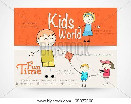 Kids world banner or website header set with kids.