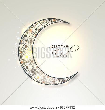 Shiny floral design decorated crescent moon on grey background, Elegant greeting card for holy festival of Muslim community, Jashn-e-Eid celebration.