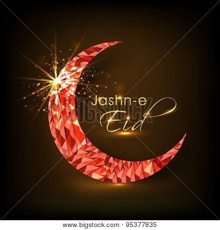 Creative shiny crescent moon on brown background, Elegant greeting card design for Jashn-e-Eid, famous Islamic festival, celebration.