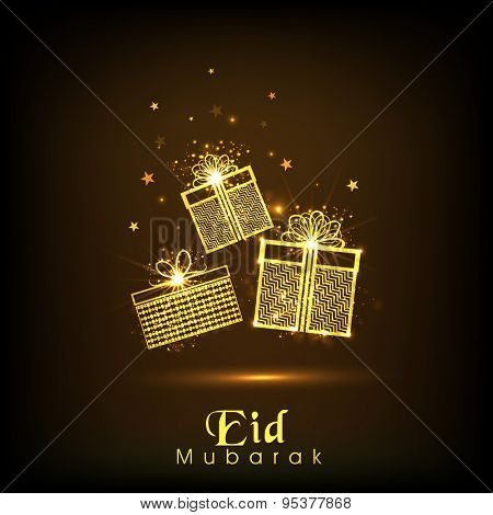 Beautiful golden gifts on stars decorated shiny brown background for Muslim community festival, Eid celebration.