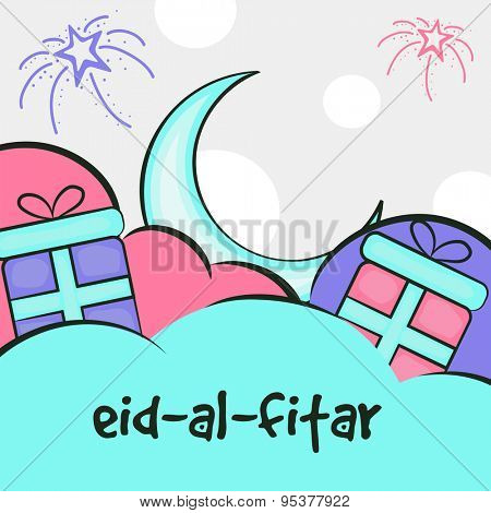 Elegant greeing card design decorated with sky blue crescent moon and gifts on fireworks background for Islamic festival, Eid-Al-Fitar celebration.