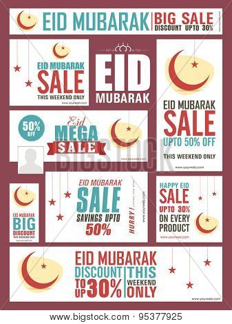 Social media sale headers, banners or ads for muslim community festival, Eid Mubarak celebration.