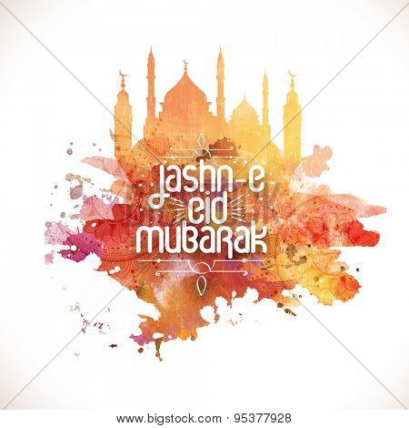 Beautiful creative mosque with floral design decoration, Elegant greeting card design for Jashn-E-Eid Mubarak, famous festival of Muslim community celebration.