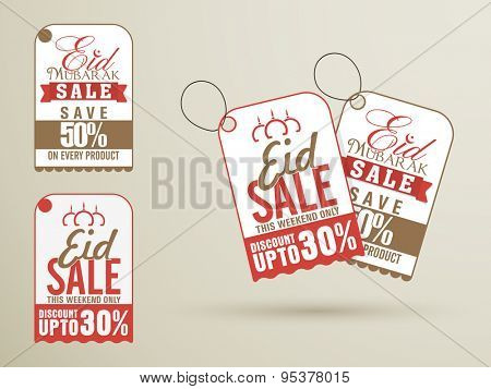 Stylish tags with different discount offer for muslim community festival, Eid Mubarak celebration.