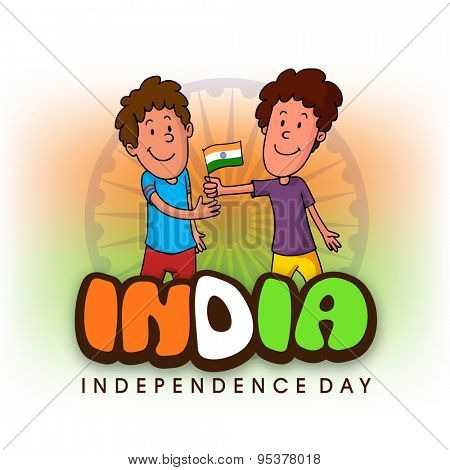 Cute happy boy giving national flag to his friend and celebrating Happy Indian Independence Day on Ashoka Wheel decorated national flag color background.