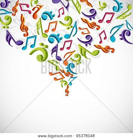 Musical background with colorful musical notes.