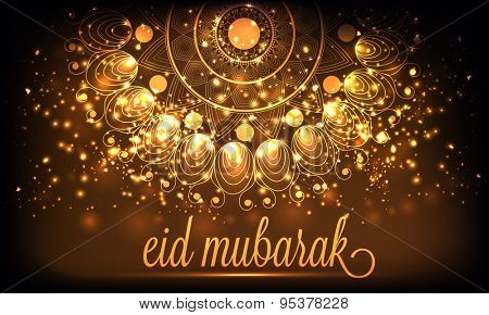Beautiful poster, banner or flyer decorated with golden glowing floral design on brown background for Muslim community festival, Eid Mubarak celebration.
