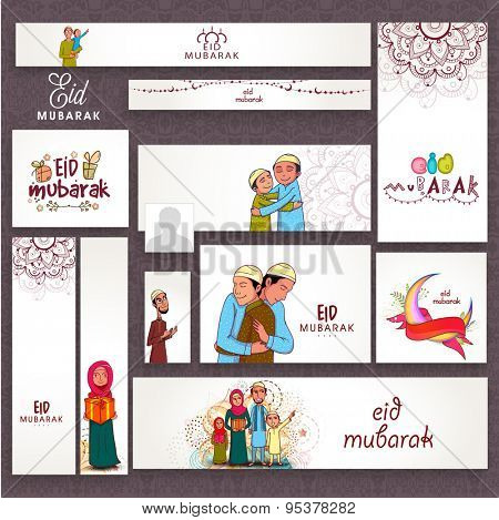 Beautiful floral design decorated social media post, header or banner set with Islamic people and crescent moon for Muslim community festival, Eid Mubarak celebration.