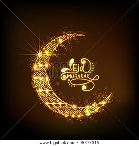 Beautiful floral design decorated golden crescent moon on shiny brown background for holy festival of Muslim community, Eid celebration.