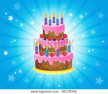 Birthday cake theme image 3 - eps10 vector illustration.
