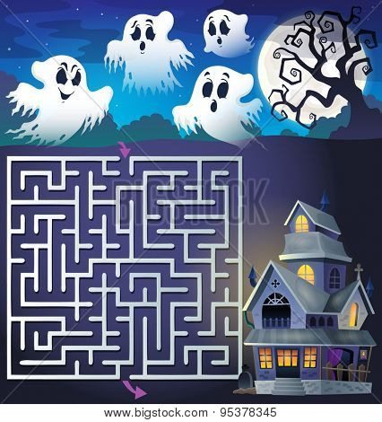 Maze 3 with ghosts and haunted house - eps10 vector illustration.