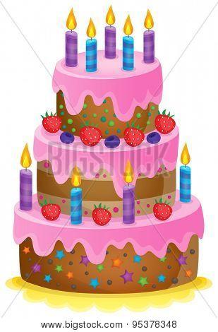 Birthday cake theme image 1 - eps10 vector illustration.