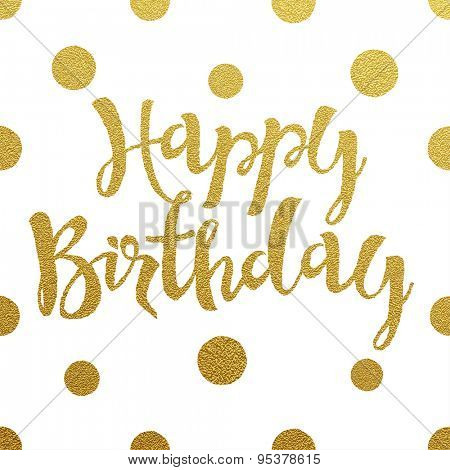Gold lettering design for birthday card