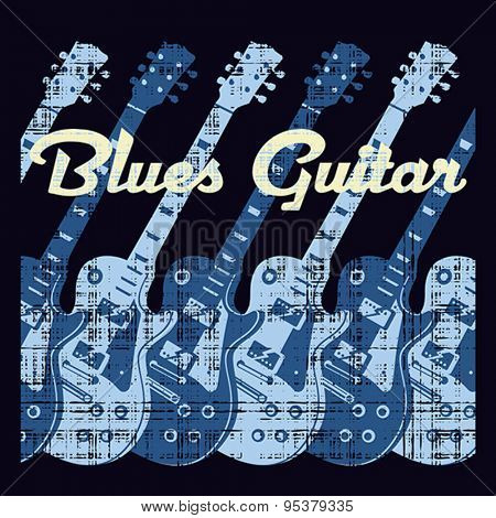 Blues guitar music, conceptual vector illustration.  Vector format EPS 8, CMYK.