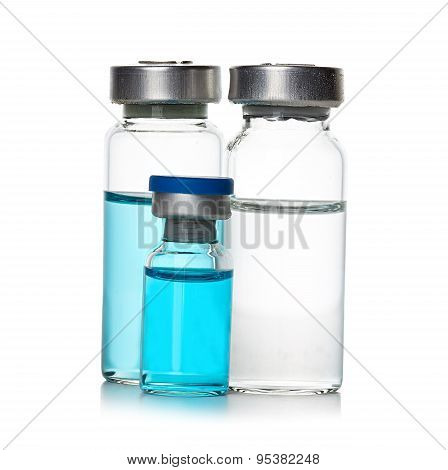 Ampules, Bottles, Vials Isolated On White Background