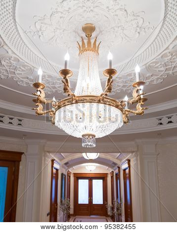 Novi Petrivtsi, Ukraine - May 27, 2015 Mezhigirya residence of ex-president of Ukraine Yanukovich. Close up of modern chandelier