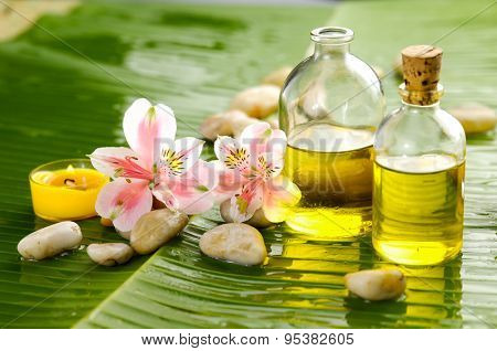 spa setting with pebbles ,candle, orchid and banana leaf