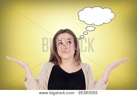 Confused cool girl thinking something with a yellow background