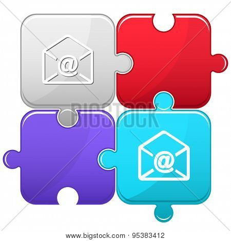 mail at-sign. Vector puzzle.