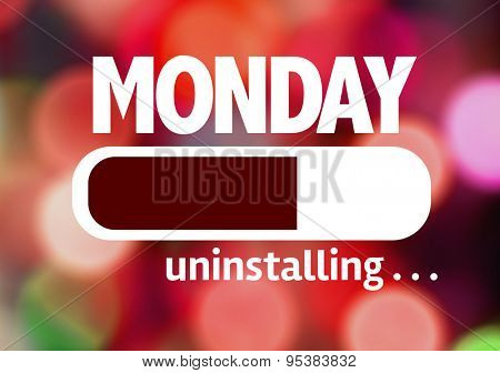 Progress Bar Uninstalling with the text: Monday