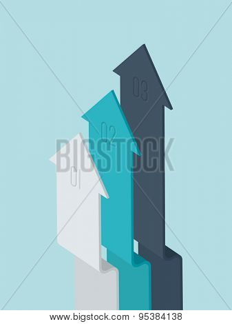 Vector 3d flat design arrow infographic elements