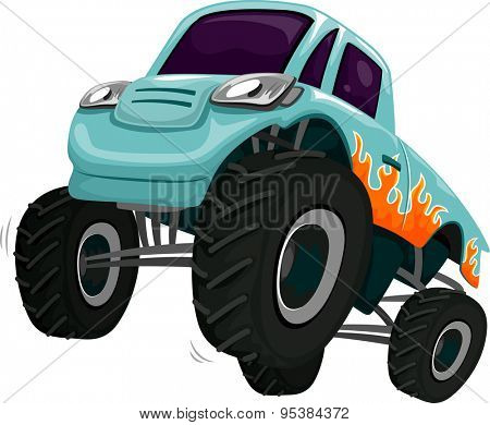 Illustration of a Monster Truck Revving its Engine