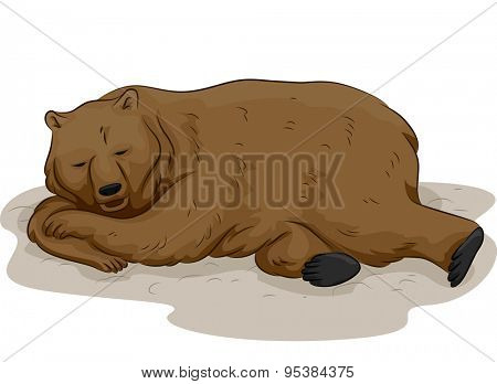 Illustration of a Bear in the Middle of Hibernation