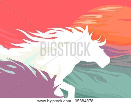 Background Illustration Featuring the Silhouettes of Galloping Horses