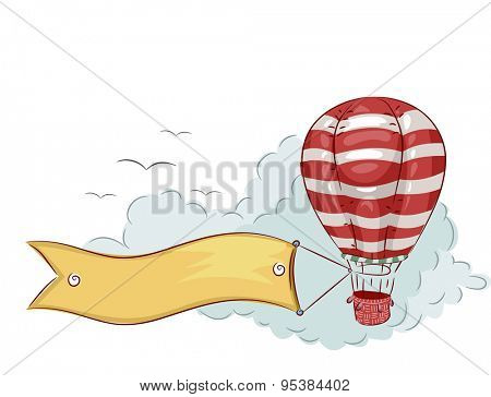 Illustration of a Blank Banner Trailing Behind a Hot Air Balloon