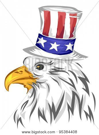 Illustration of Bald Eagle Wearing a Top Hat Designed with the American Flag