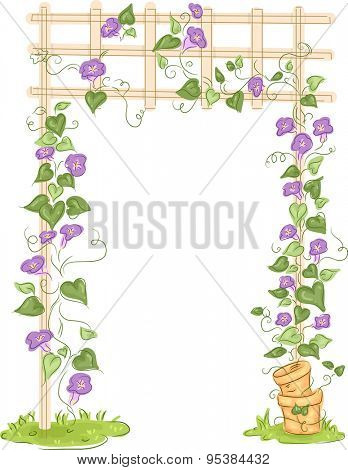 Illustration of a Garden with Colorful Flowers Growing on a Trellis