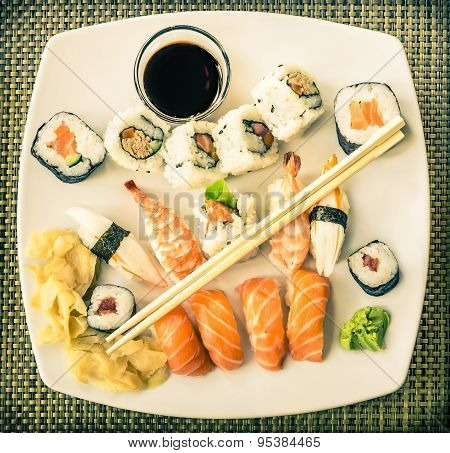 Vintage Plate Of Sushi - Japanese Food With Maki Nigiri Rolls And Wasabi
