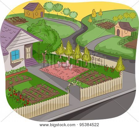 Illustration of a House in a Rural Neighborhood with a Garden in Front