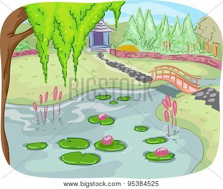 Illustration of a Botanical Garden with a Pond Full of Lotus Leaves