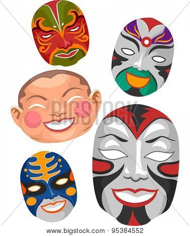 Illustration of Chinese Masks Typically Seen in Operas and New Year Celebrations