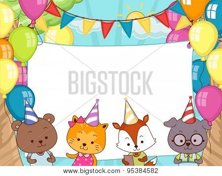 Banner Illustration of Cute Animals Wearing Party Hats
