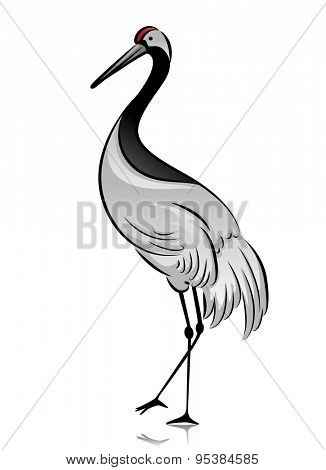 Illustration of a Crane Standing with One Foot Raised