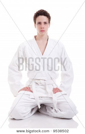 Judoist Karate Man On White Background, Studio Shot