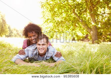 Couple having fun together in the countryside
