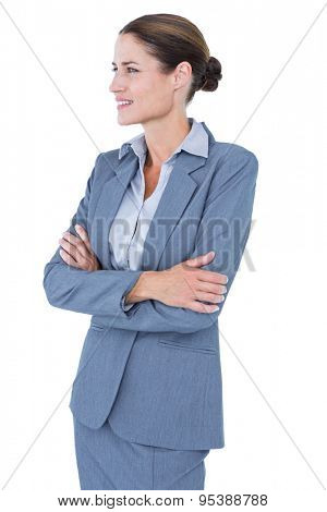 Businesswoman smiling on a white background looking at the camera