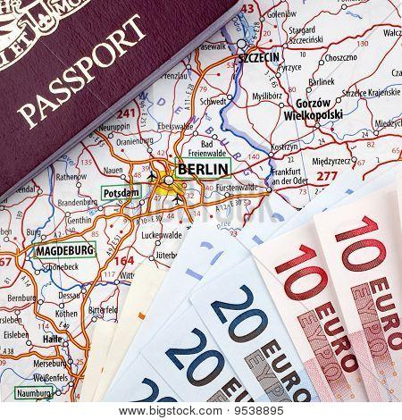 Passport, Euros and Berlin Map
