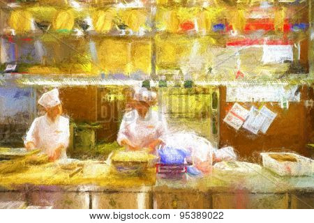 People work in chinese restaurant