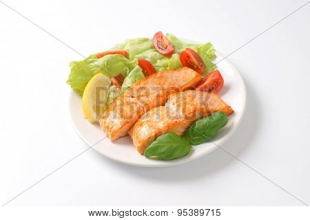 plate of roasted salmon fillets and vegetable garnish on white background