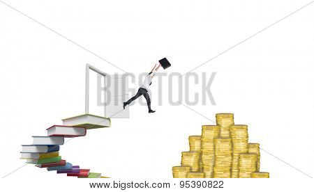 Businessman leaping with his briefcase against steps made out of books with open door
