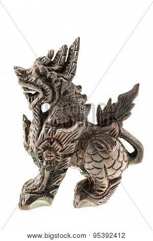 Wooden Dragon Statuette