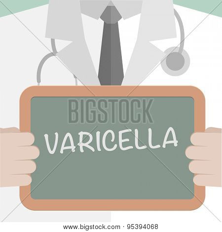 minimalistic illustration of a doctor holding a blackboard with Varicella text, eps10 vector