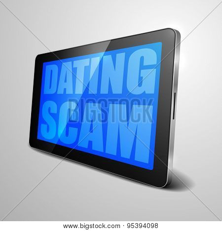 detailed illustration of a tablet computer device with Dating Scam text, eps10 vector