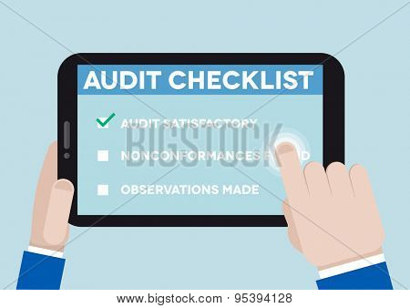 minimalistic illustration of hands holding a tablet computer with an audit checklist, eps10 vector