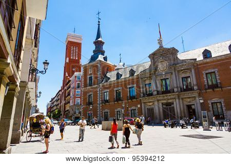 MADRID - JUNE,18: Tourists visit famous place Plaza de la Provincia on June 18, 2015 in Madrid